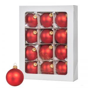 Красные рождественские шары 12 шт. 6 см
