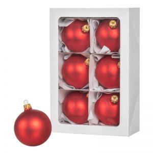 Красные рождественские шары 6 шт. 8 см