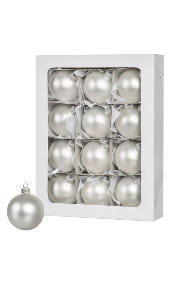 Серебряные рождественские шары 12 шт. 6 см