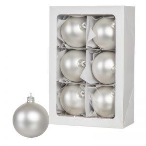 Серебряные рождественские шары 6 шт. 8 см