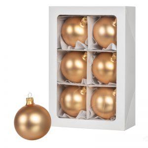 Золотые рождественские шары 6 шт. 8 см.