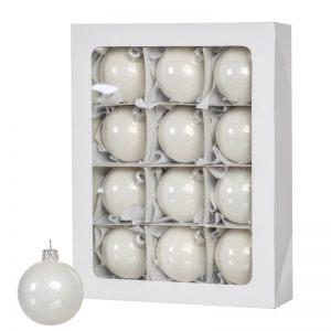 Белые рождественские шары 12 шт. 6 см